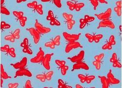 Stoff Schmetterlinge blau pink