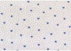 Stoff Sternchen blau creme