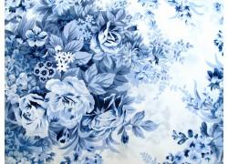 Stoff Rosen blau
