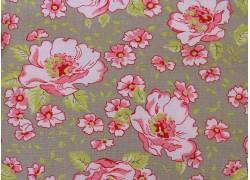 Stoff Blumen rosa taupe