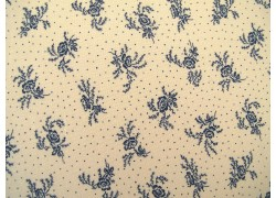 Stoff Blumen blau creme