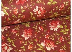 Stoff Blumen rot braun