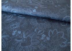 Blumenstoff jeansblau Isadora Patchworkstoff