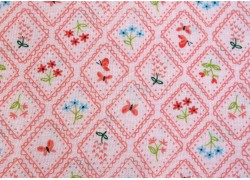 Designerstoff Blümchen rosa Home sweet Home Patchworkstoff