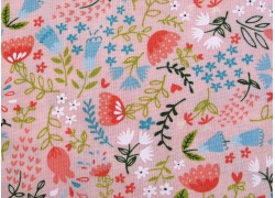Blumenstoff rosa Home sweet Home Quiltstoff