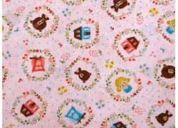 Patchworkstoff Bären Häuser Mädchen rosa Home sweet Home Quiltstoff