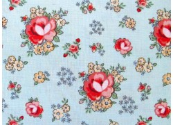 Rosenstoff Patchworkstoff Dots and Posies blau rot