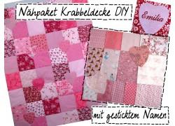 Nähpaket Krabbeldecke mit Namen rosa