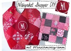 Nähpaket Shopper pink taupe mit Monogramm