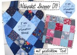 Nähpaket Shopper mit gesticktem Text pink blau taupe