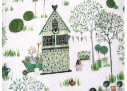 Baumwollstoff Kerstin Heß grün Frühlingsgarten