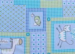 Kinderstoff Baumwolle blau Tiere
