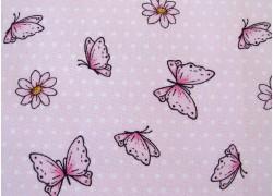 Baumwollstoff Blumen Schmetterlinge rosa