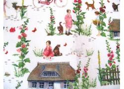 Daniela Drescher Stoff Sommerdorf grün rosa
