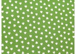 Baumwollstoff grün weiß Herzchenstoff