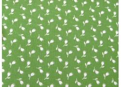 Baumwollstoff grün weiß Blumenstoff