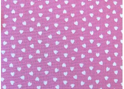 Herzchenstoff Baumwollstoff rosa weiß