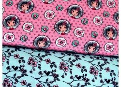 Stoffpaket Baumwolle Mädchen Blumen 72045