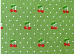 Designerstoff grün rot Kirschen Orchard Patchworkstoff