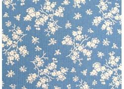Baumwollstoff Blumen blau weiß