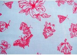 Blumenstoff Woodland Walk blau pink Patchworkstoff