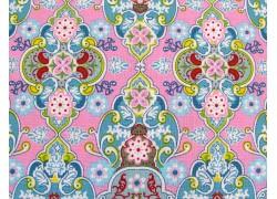 Baumwollstoffe Ornamente rosa blau Julia
