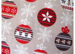 Stoff Weihnachten beige rot