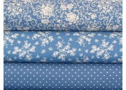 Stoffpaket Blumen blau weiß
