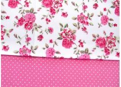 Stoffpaket Baumwolle Rosen pink weiß 72039