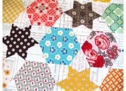 Patchworktstoff Sterne Hexagon Flea Market