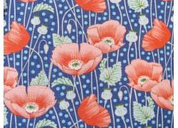 Tilda Stoffe Gardenlife Klatschmohn blau Patchworkstoff