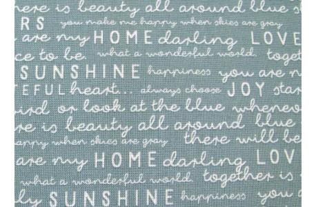 Patchworkstoff Text Schrift blau Gingham Gardens