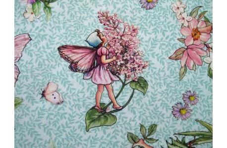 Patchworkstoff Elfenstoff The Dancing Flower Fairies türkis