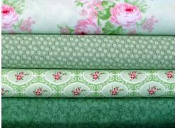 Stoffpaket Rosen grün rosa