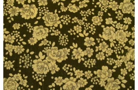 Reststück Stoff Blumen grün Patchworkstoff