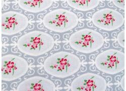 Blumenstoff Charlotte grau pink Patchworkstoff