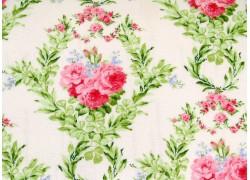 Rosenstoff grün rosa Guernsey Patchworkstoff