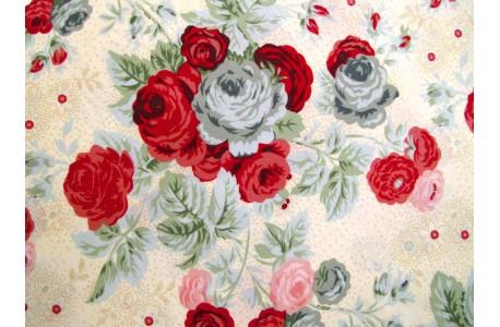 Stoff Rosen rot türkis