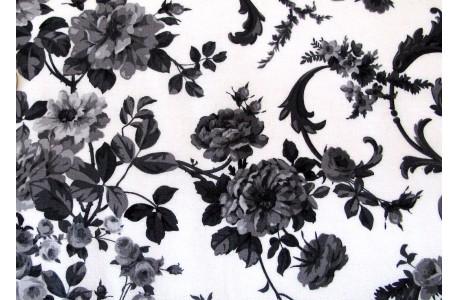 Stoff Rosen schwarz weiß