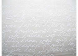 Stoff Schrift weiß