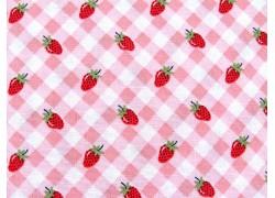 Patchworkstoff Erdbeeren Karos rosa rot Farmgirls Unite