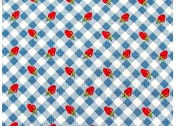 Patchworkstoff Erdbeeren Karos blau rot Farmgirls Unite