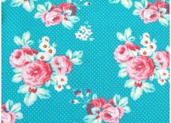 Rosenstoff Darling Meadow türkis pink Patchworkstoff