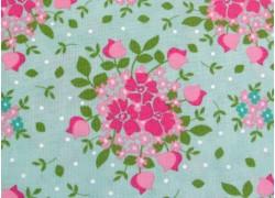 Blumenstoff grün pink Canning Day Quiltstoff