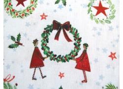 Weihnachtsstoff Baumwolle Winterkränze rot grün acufactum