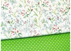 Stoffset Blumen Gräser grün