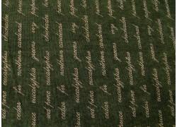 Patchworkstoff Text Schrift dunkelgrün Forever Green Quiltstoff