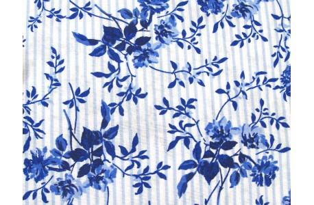 Westfalenstoff Rosen Streifen blau Delft