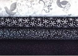 Stoffpaket Weihnachten schwarz silber