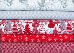 Stoffpaket Weihnachten grau rot